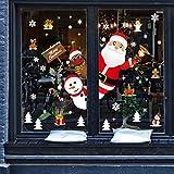 Tuopuda NoëL Autocollants Père Noël Bonhomme de Neige Renne Stickers Muraux Amovibles Stickers Fenetre Electrostatique Décorations de Noël pour Portes, vitrines, façades en Verre et Plus