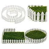 Uxradg in miniatura in resina giardino fata ornamento vaso di fiori vaso Home Decor bianco legno recinto