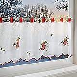 Scheibengardine WEIHNACHTSSTIEFEL für Küche und Kinderzimmer / weiße Wohnzimmer Bistrogardine / 45x115 cm / Moderne und transparente Gardine zu Weihnachten
