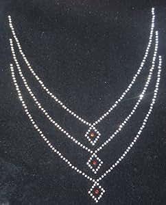 Neckline 3 Diamond Iron-On Hotfix Rhinestone Gem Motif