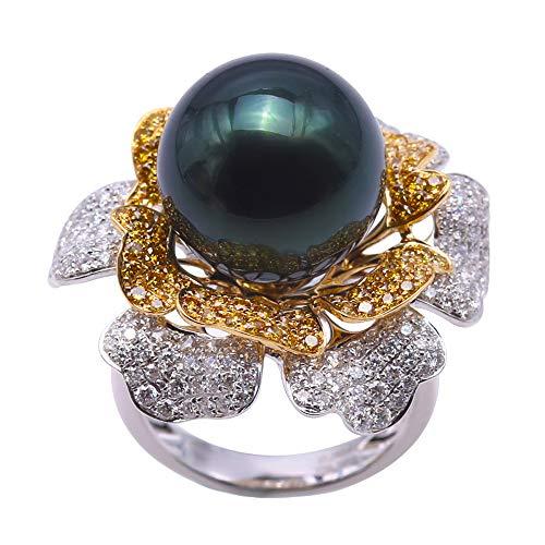 JYX Ring 18 Karat Gold Diamantiert 13,8 mm Pfauengrün rund Tahiti Perle Hochzeit Schmuck – AAA ()