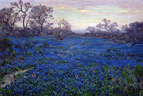 Das Museum Outlet-Bluebonnets bei Twilight, in der Nähe von San Antonio, 1919-20-Poster (mittel)