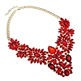 Jerollin Damen Halskette Collar Choker Collier Halsreif Necklace Glas Grosse Groß Statement Kette Rot Vintage Elegant Anhänger Trachtenschmuck Modeschmuck
