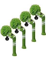 Scott Edward/utilidades fundas de cabeza de palo de golf híbridos, 4 piezas Paquete, verde gris blanco Argyle, hilo acrílico double-layers de punto, con giratorio número etiquetas, 2 colores opcional (verde)