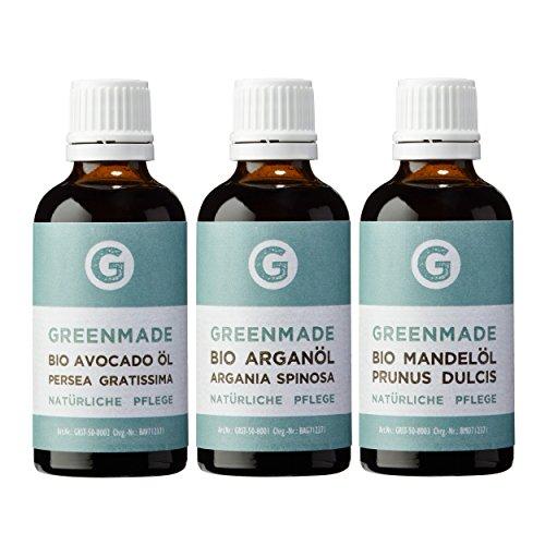 Bio Beauty Set No.1 | BIO Arganöl, BIO Avocadoöl, BIO Mandelöl | reines, kaltgepresstes Öl (3x50ml) | Pflege für Gesicht und Haare | Hautpflege nativ von greenmade