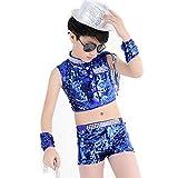Byjia Bambini Paillettes Jazz Costume Di Danza Sciolti Ragazzi Ragazze Bambini In Scena Spettacoli Gioventù Comfort Gruppo Studenti Coro Partito Cheerleading Squadra Hip Hop , D , 160Cm