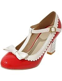 0021aee6a9c94a YE Damen Mary Jane Chunky Heels Pumps Lack High Heels Geschlossen mit  Riemchen und Blockabsatz 5cm Bequem…