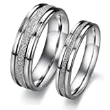 Scorpios Fashion Jewelry Silver Frosted Surface Central and Grooves Stainless Steel Promise Couple Ring