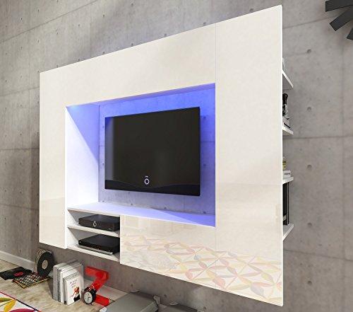 Wohnwand NET Weiß Hochglanz Anbauwand Hängewohnwand Wohnmoebel mit RGB Beleuchtung - 2
