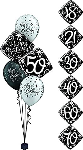Happy 40th Birthday Party Foil Helium Balloon Display