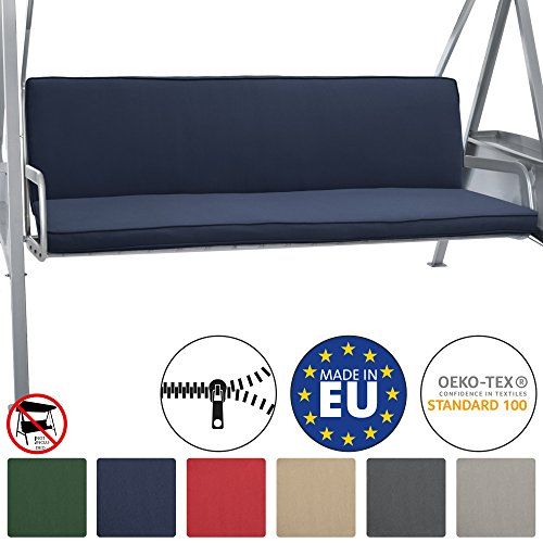 Beautissu Loft HS set 2 Cojines colchoneta bancos columpio Hollywood 180x50 Azula oscuro asiento y respaldo 3 plazas