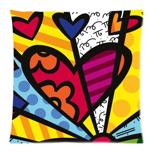 Romero britto, a forma di cuore, con chiusura a zip per cuscino, motivo: custom pillow cases 45,72 x 45,72 (18