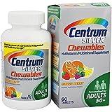 Centrum Lot de 2 flacons de 60 comprimés de suppléments multivitamines et minéraux à mâcher Silver goût agrumes...