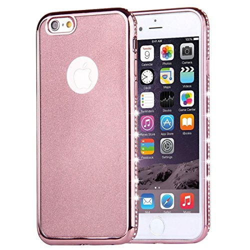 Phone case & Hülle Für iPhone 6 / 6s, Diamond verkrustet Galvanisieren Flash Powder TPU Schutzhülle ( Color : Gold ) Rose Gold