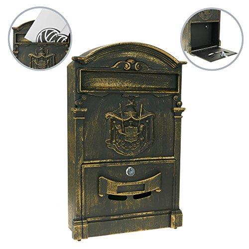 Preisvergleich Produktbild PrimeMatik - Briefkasten Postkasten Retro Antik Vintage metallische schwarze Oxid für wallmount