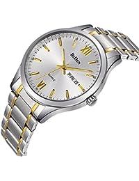 Relojes, relojes para hombre oro acero inoxidable reloj de moda de lujo resistente al agua muñeca analógico reloj de cuarzo