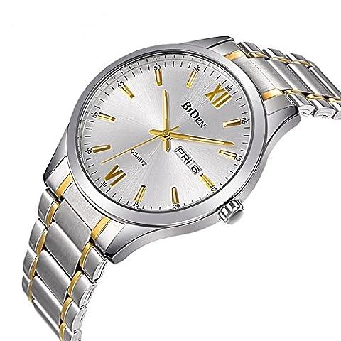 Watches, Mens Watches Gold stainless Steel Watch Luxury Fashion Waterproof Wrist Analog Quartz