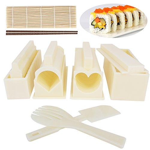 Regalo ideal para cualquier persona que ama sushi. Kit de fabricación de sushi perfecto, viene junto con 100 % alfombrillas de bambú y palillos. Incluye 10 piezas para ayudar a hacer diferentes formas: círculo, corazón, cuadrado grande, cuadrado pequ...