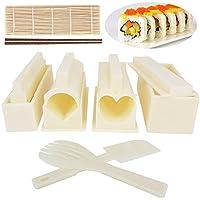 Benail DIY Kit de fabricación de sushi para principiantes, viene junto con alfombrillas de bambú 100% y palillos de chupito