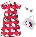 Original Barbie Mode, Kleider Set - FKR67 Hello Kitty Outfit, rotes Kleid mit Handtasche und Sonnenbrille