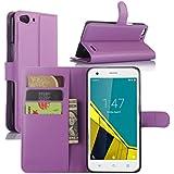 Funda Vodafone Smart Ultra 6, HualuBro [Protección Todo Alrededor] Premium PU Cuero Leather Billetera Wallet Carcasa Case Flip Cover para Vodafone Smart Ultra 6 Smartphone (Morado)