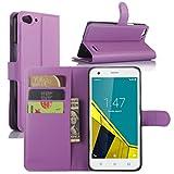 Vodafone Smart Ultra 6 Hülle, HualuBro [Standfunktion] [All Aro& Schutz] Premium PU Leder Wallet Tasche Schutzhülle Case Flip Cover mit Karten Slot für Vodafone Smart Ultra 6 Smartphone (Violett)