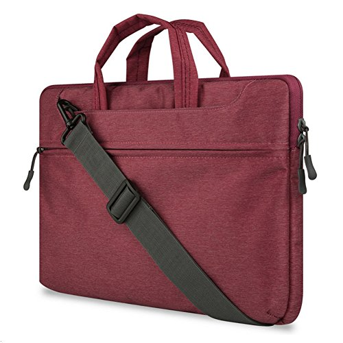 "GADIEMENSS Water-resistant Laptop Shoulder Briefcase Bag Portable Computer case handbag 15.6"" Dark Red"