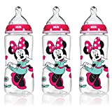 NUK Disney Minnie Mouse Weithals Babyflaschen - 10oz/300ml Orthodontic Bottle, 3-Pack, Med Flow, Silicone
