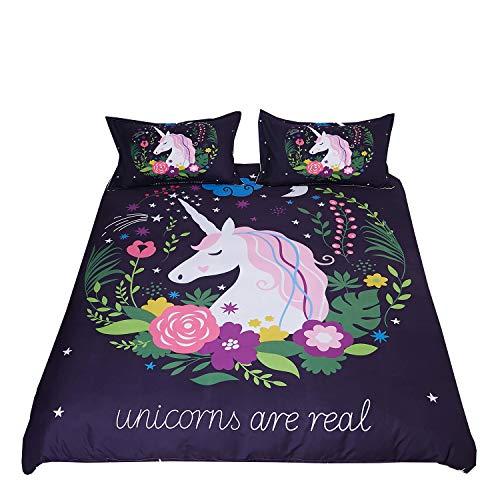 DEERHOME Einhorn-Bettwäsche, 3-teiliges Bettwäsche-Set für Mädchen und Jungen Twin #02 (Jungen Twin Bettwäsche-sets)