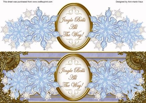 Blu Fiocco di neve Jingle All the Way. Grande DL Decoupage Topper by Ann-Marie Vaux
