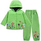 LZH Mädchen Kinder Regenjacke mit Kapuze Regenhose 2pcs Bekleidungsset (4-5 Years(120), Green)