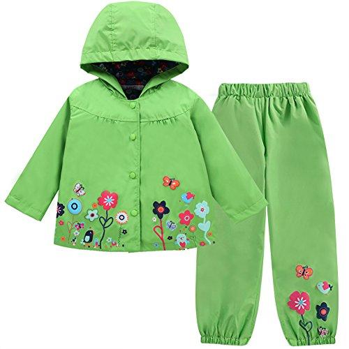 LZH Mädchen Kinder Regenjacke mit Kapuze Regenhose 2pcs Bekleidungsset (1-2 Years(90), Green) -
