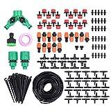 Sistema de Riego por Goteo 40M Kit de Riego Automatico de Jadin Irrigación Bricolaje con Conectores de Grifo Divesor Tipo Y Goteros Ajustables para Patio Invernadero Huerto Plantas Macetas