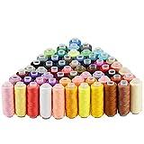 JTDEAL 60colori bobine filo da cucire, colorate fili di macchina da cucire in poliestere per ricamo e lavori d' ago Ideal per macchina da cucire e cucito a mano