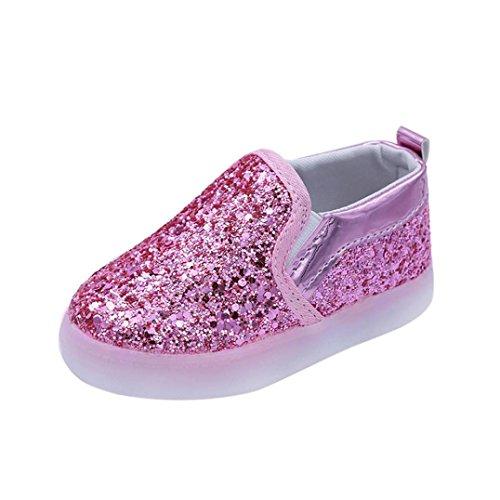 Kinder Schuhe mit LED Licht, FNKDOR Mädchen Jungen Baby Lauflernschuhe, 21-30 (24 Fußlänge:14.5CM, Pink)
