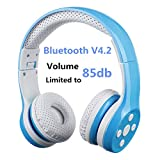 Auriculares Bluetooth para niños, Hisonic Auriculares Plegable para niños con Volumen Limitado Compatible con iPhone,iPad Mini, iPad,PC,MP3 y más Dispositivos Bluetooth, niños (Azul)