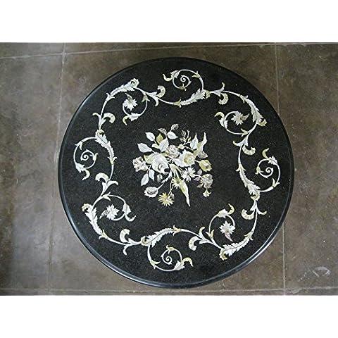 23Nero pietre semi preziose intarsiato forma rotonda tavolino divano tavolino casa ufficio decormarble da tavolo
