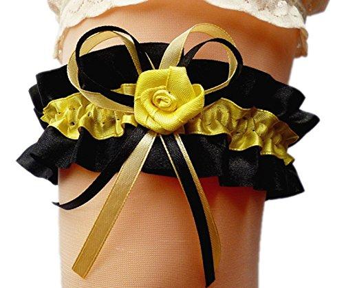 Hochzeit Schwarz Strumpfband (Satin-Strumpfband Braut schwarz gelb mit Schleifen Rose Hochzeit Kostüm NEU EU (dehnbar bis 60 cm))