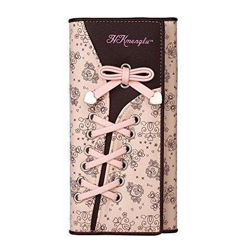 GDTK Mesdames élégant Portefeuille Femme Cuir Porte-monnaie Floral Ruban (Rose)