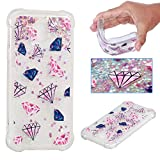 BoxTii Galaxy J5 2017 Case [with Free Tempered Glass Screen Protector] Soft TPU Silicone Case for Samsung Galaxy J5 2017, Liquid Glitter Shiny Case Shockproof Bumper Case Cover (Pink, Diamond)