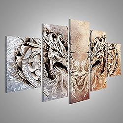 Cuadro Cuadros arte del tatuaje, el corazón medieval de la fantasía dragones Impresión sobre lienzo - Formato Grande - Cuadros modernos