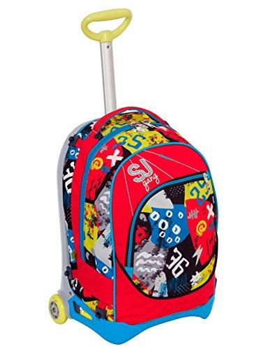 Trolley jack junior - sj gang - azzurro rosso - 28 lt sganciabile e lavabile - scuola e viaggio