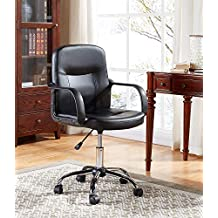 EBS My Furniture Silla Ejecutiva Oficina Escritorio Básica Económica Altura Ajustable Reposabrazos Acolchado Base Cromada Negro