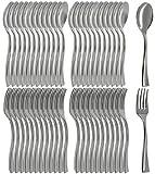 COM-FOUR Set di posate da 48 pezzi di forchette e cucchiai usa e getta - posate in plastica metallizzate - per dessert e in viaggio (48 pezzi - Mix Set Fork + Spoon)