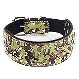 Fully Hundehalsband Halsband Pilz Nieten PU Leder Halskette Kragen Punk Blogger Verstellbar Welpen Labrador Huskie (L, Camouflage)