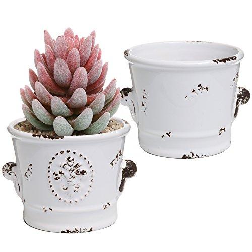 MyGift Rustikal Weiß Keramik 4-Zoll Sukkulente Übertopf Töpfe, Set von 2 (Keramik-töpfe Die 4 Pflanzen Zoll Für)