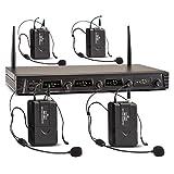 Malone Duett Quartett Fix V3 • 4-Kanal UHF-Funkmikrofon Set • Funk-Mikrofon System • 4 x kabelloses Headset-Mikrofon • 50 m Reichweite • LED • lange Betriebszeiten • 2 x XLR- und 1 x Klinken-Ausgang • integrierter Pop-Schutz • Transportkoffer • schwarz
