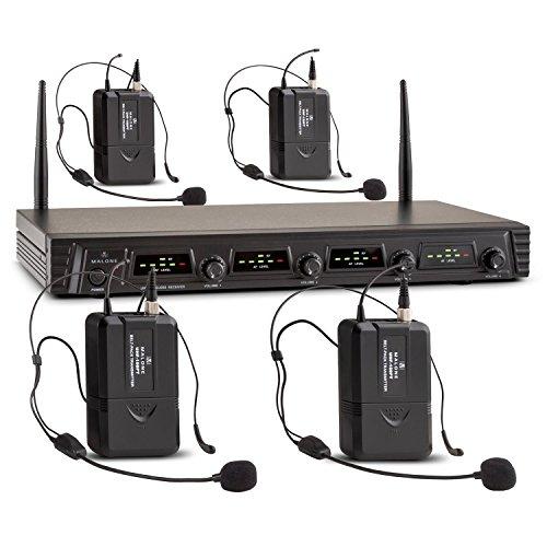 Malone Duett Quartett Fix V3 microfoni senza fili (4 microfoni ad archetto, uscite XLR e jack-AUX, 4 canali UHF, valigetta e imbottitura protettiva) - nero