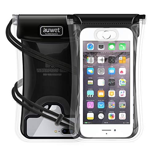 Auwet Wasserdichte Handyhülle für iPhone 8/7/6S/6 Plus, [Schwimmende+Fingerabdruck Unterstütztende] Handy Trockentasche mit Justierbarem Halsband, Android bis zu 6 Zoll Handytasche, IPX8