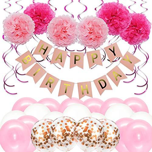 Bigmeda Geburtstagsdeko, Geburtstag Dekoration Set, 1 Happy Birthday Banner Girlande, 6 Seidenpapier Blumen, 24 Ballons, 10 Spiralen Dekoration für Mädchen Jungen Männer Frauen [Rosa]